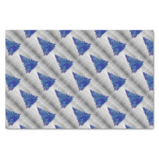 Blue and Purple watercolor christmas tree Tissue Paper