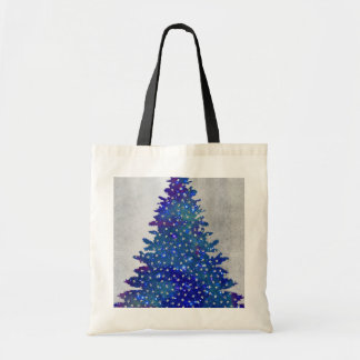 Blue and Purple watercolor christmas tree Tote Bag