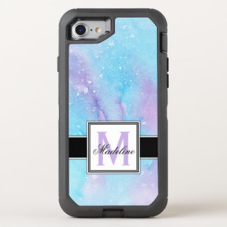 Blue and Purple Watercolor Monogram OtterBox Defender iPhone 8/7 Case