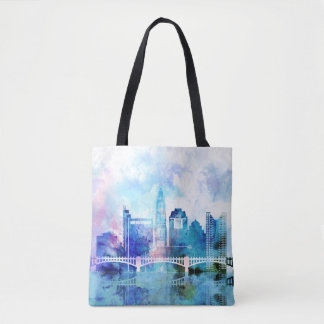 Blue and purple watercolor tote bag