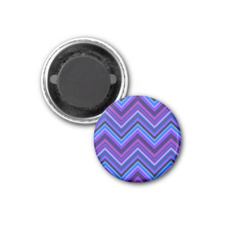 Blue and purple zigzag stripes 1 inch round magnet