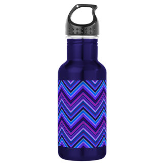 Blue and purple zigzag stripes 532 ml water bottle