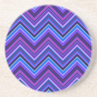 Blue and purple zigzag stripes coaster