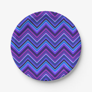 Blue and purple zigzag stripes paper plate