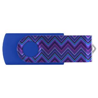 Blue and purple zigzag stripes swivel USB 2.0 flash drive