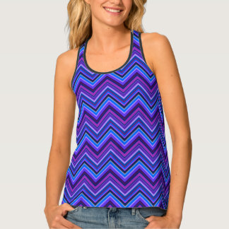 Blue and purple zigzag stripes tank top