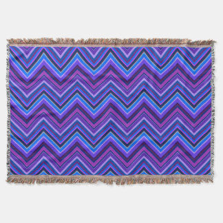 Blue and purple zigzag stripes throw