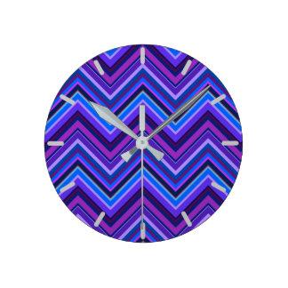 Blue and purple zigzag stripes wall clock