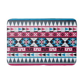 Blue and Raspberry Aztec Style Pattern Bathroom Mat