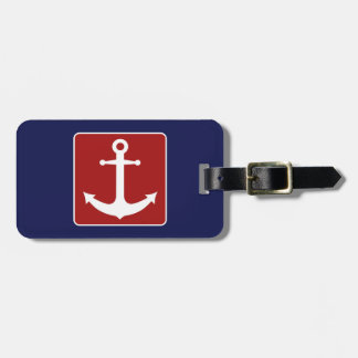 Blue and Red Anchor Luggage Tag