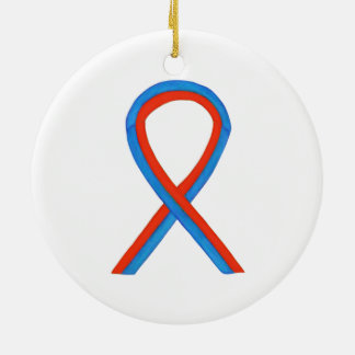 Blue and Red Awareness Ribbon Custom Ornaments