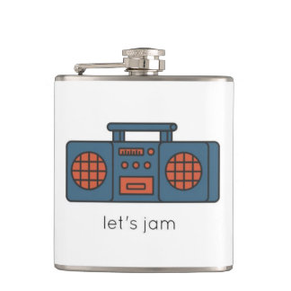 Blue and Red Boom Box Let's Jam Flask