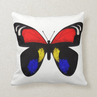 Blue and Red Butterfly Throw Pillow