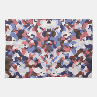 Blue and red camouflage pattern kitchen towel