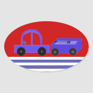 Blue and Red Car and Wagon Oval Sticker