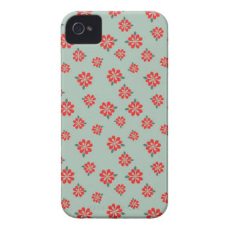 Blue and red cherry blossoms flower floral folkart iPhone 4 Case-Mate case