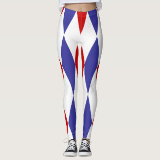 Blue and red diamonds design leggings