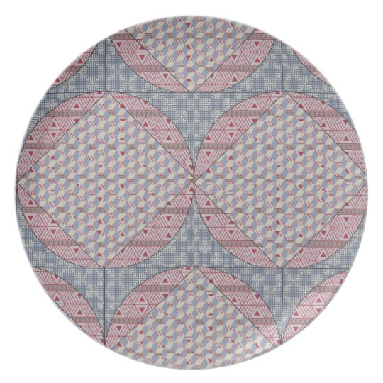 Blue and Red Faux Quilt Plate