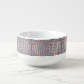 Blue and Red Faux Quilt Soup Mug