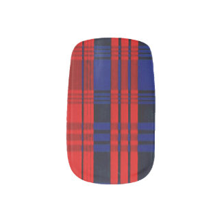 BLUE AND RED FLANNEL NAIL ART