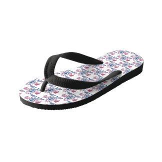 Blue and Red Floral Print Flip Flops