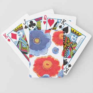 Blue and Red_Floral Wallpaper Bicycle Playing Cards