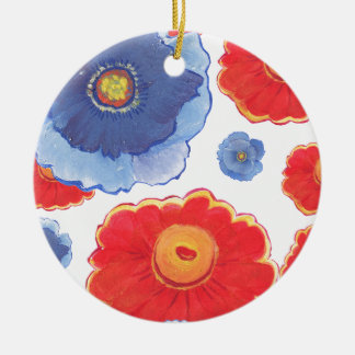 Blue and Red_Floral Wallpaper Ceramic Ornament