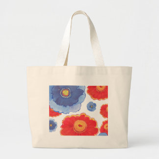 Blue and Red_Floral Wallpaper Large Tote Bag
