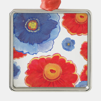 Blue and Red_Floral Wallpaper Metal Ornament
