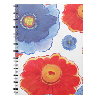 Blue and Red_Floral Wallpaper Notebooks