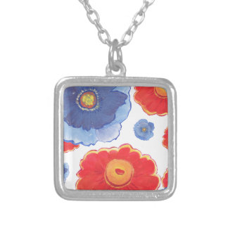 Blue and Red_Floral Wallpaper Silver Plated Necklace