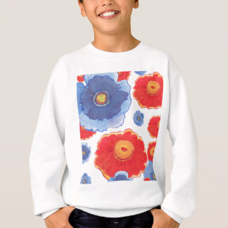 Blue and Red_Floral Wallpaper Sweatshirt