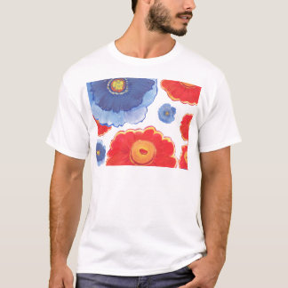 Blue and Red_Floral Wallpaper T-Shirt
