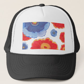 Blue and Red_Floral Wallpaper Trucker Hat