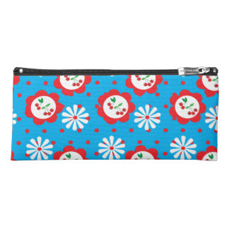 Blue and Red Flowers + Cherries Pencil Bag