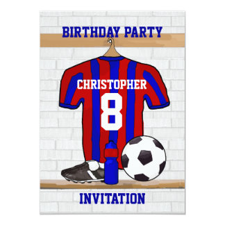 "Blue and Red Football Soccer Jersey Birthday Party 5"" X 7"" Invitation Card"