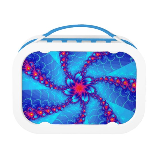 Blue and red fractal spiral lunchboxes
