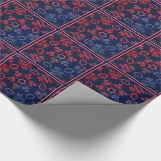 Blue and red glow mandala tiled paper