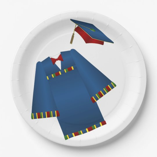 Blue and Red Graduate Cap and Gown 9 Inch Paper Plate