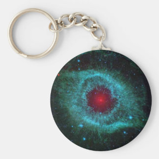Blue and red helix nebula star cluster keychain