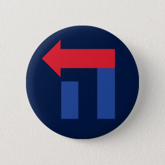 Blue and Red Hillary in Hebrew button