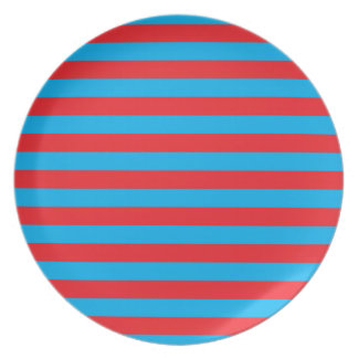 Blue and Red Horizontal Stripes Party Plate