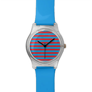 Blue and Red Horizontal Stripes Wristwatch