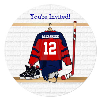 Blue and Red Ice Hockey Jersey Birthday Party 5.25x5.25 Square Paper Invitation Card