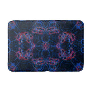 Blue and red light trails pattern bathroom mat