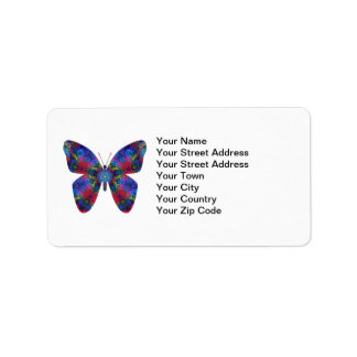 Blue and Red Mandala Fantasy Butterfly Address Label
