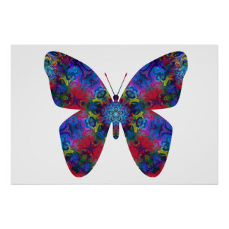 Blue and Red Mandala Fantasy Butterfly Posters