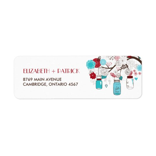 Blue and Red Mason Jars and Flowers Address Label