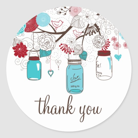 Blue and Red Mason Jars Floral Thank You Sticker