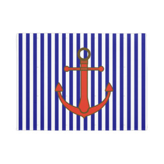 Blue and Red Nautical Anchor and Stripes  Door Mat